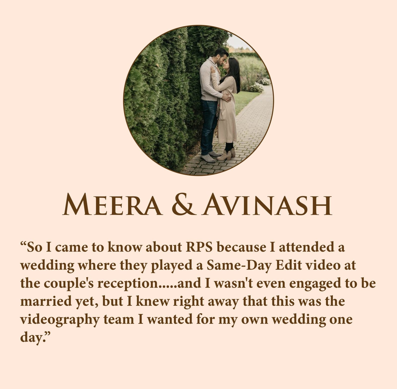 So I came to know about RPS because I attended a wedding where they played a Same-Day Edit video at the couple's reception.....and I wasn't even engaged to be married yet, but I knew right away that this was the videography team I wanted for my own wedding one day.